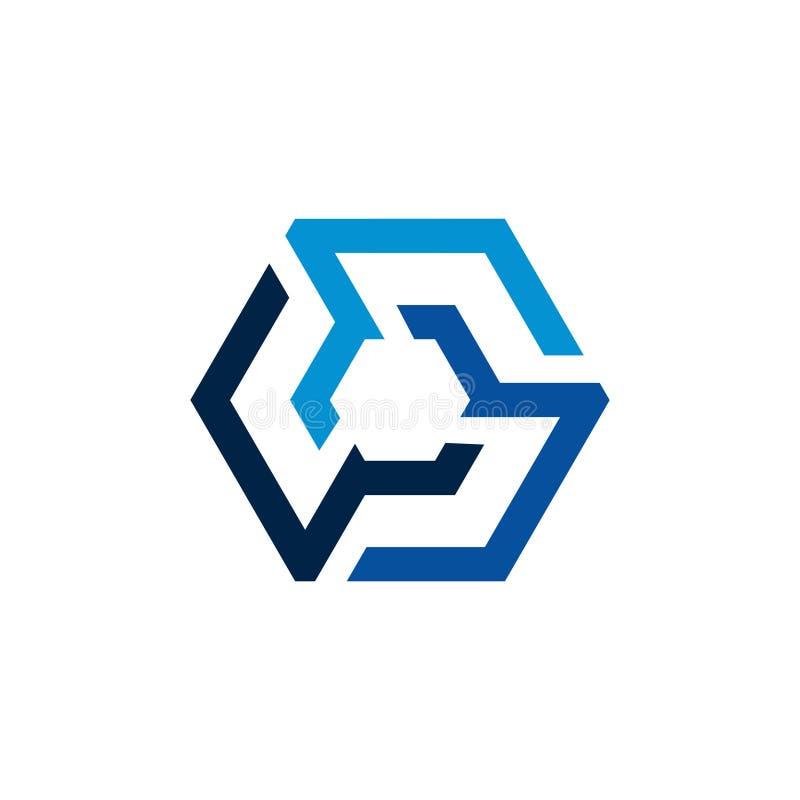 Современная линия шаблон сети шестиугольника логотипа дела иллюстрация вектора