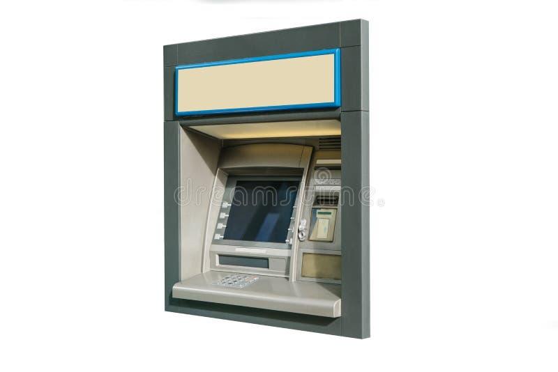 Современная машина ATM улицы для разведения денег и других финансовых операций изолированная на белой предпосылке стоковая фотография