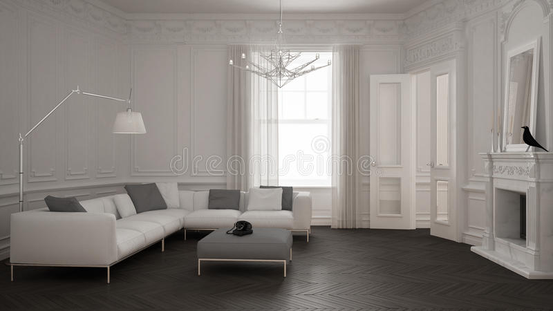 Современная минималистская софа в классической винтажной живущей комнате с firep иллюстрация вектора