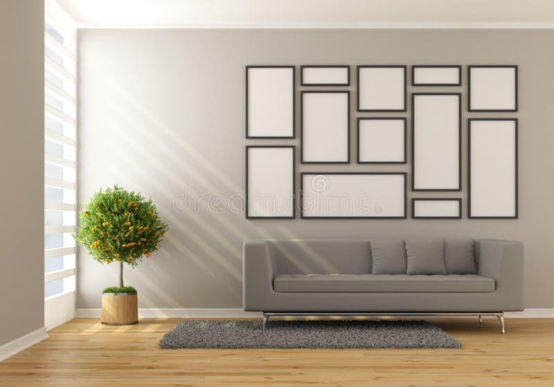 Современная минималист живущая комната иллюстрация вектора