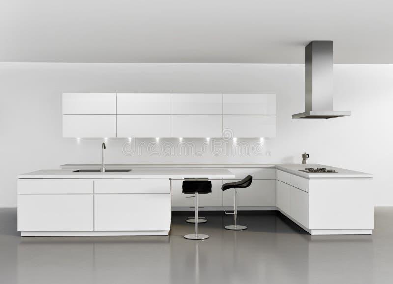 Современная минимальная белая кухня бесплатная иллюстрация