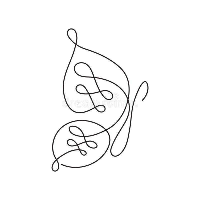 Современная непрерывная линия бабочка Одна линия чертеж формы насекомого для логотипа, карточки, знамени, рогульки плаката иллюстрация вектора