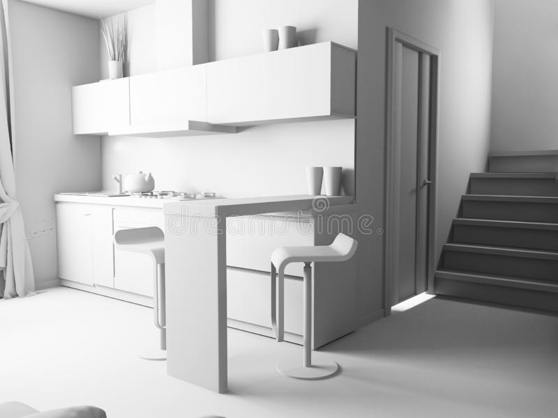 Современная отечественная кухня, стильный дизайн интерьера, изображение перевода 3 d иллюстрация штока