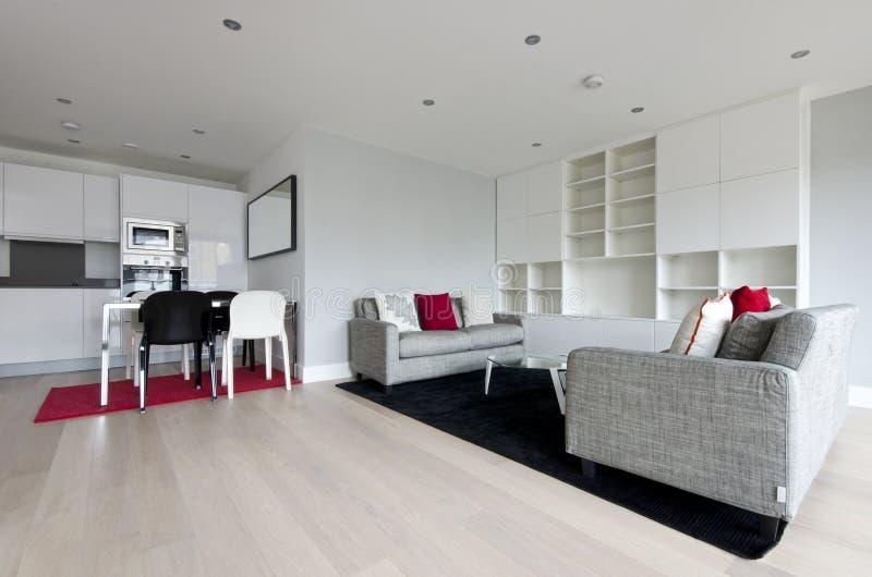 Современная открытая жилая площадь плана с польностью приспособленной кухней стоковое фото rf