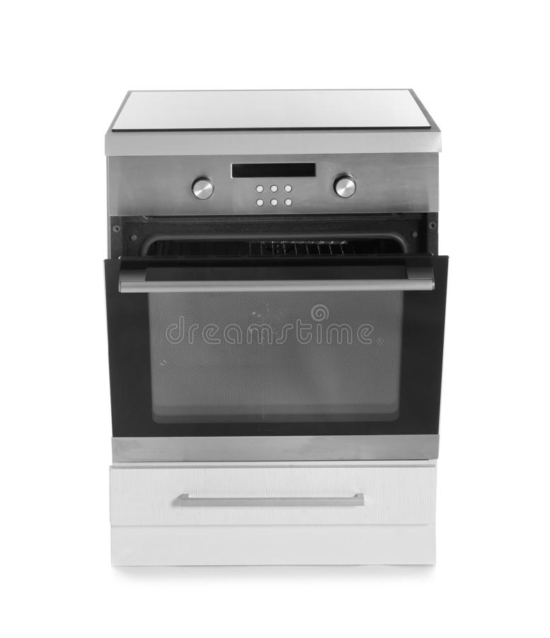 Современная печь изолированная на белизне стоковые фотографии rf