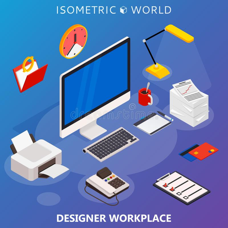 Современная плоская равновеликая концепция 3d рабочего места с компьютером и конторскими машинами иллюстрация вектора