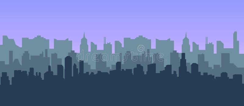 Современная предпосылка вектора ландшафта города для веб-дизайна Иллюстрация горизонта города Горизонтальный городской ландшафт бесплатная иллюстрация