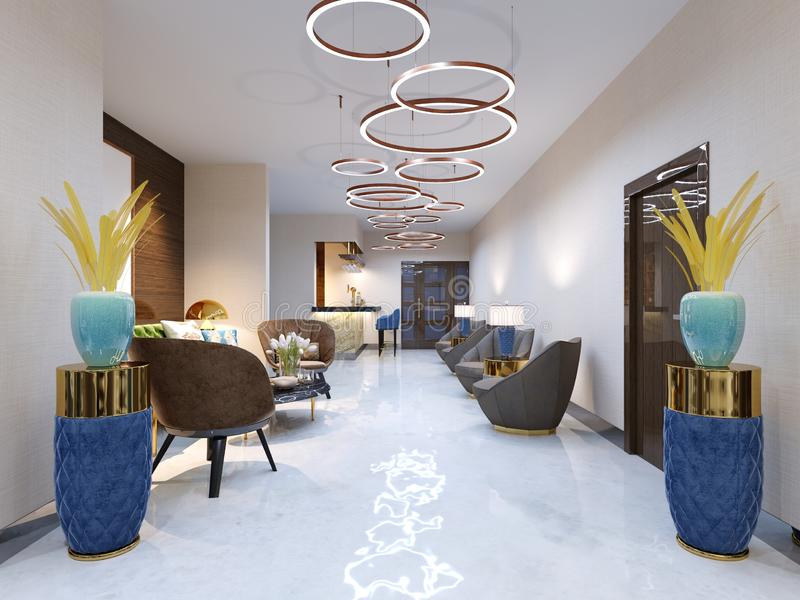 Современная приемная с большими обитыми дизайнерскими креслами и большой люстрой золотых колец Бортовые таблицы с лампами бесплатная иллюстрация