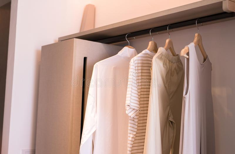 Современная прогулка в шкафах конструирует интерьер при одежды вися на тоне рельса теплом стоковые фотографии rf