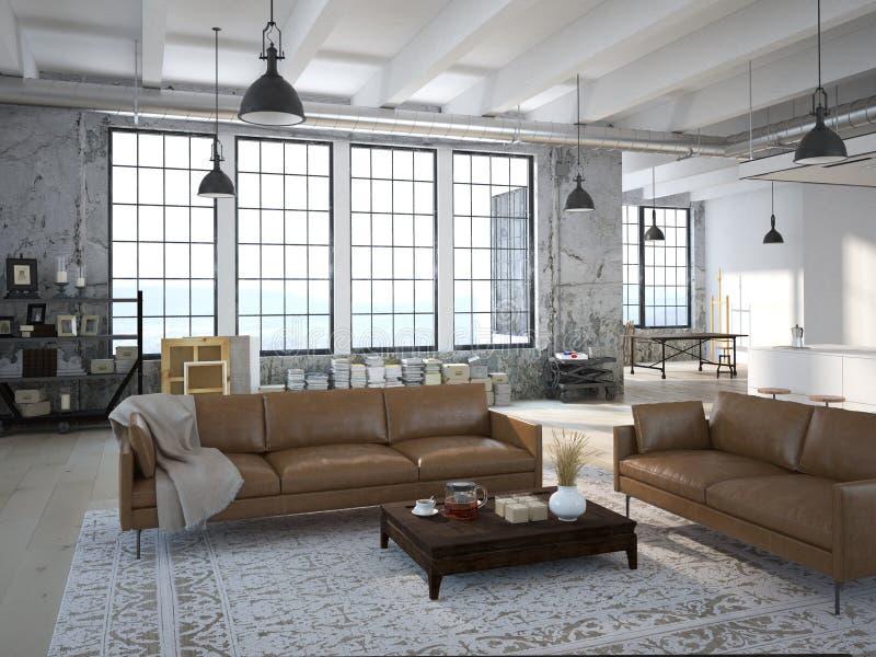 Современная просторная квартира с кухней перевод 3d стоковые фото