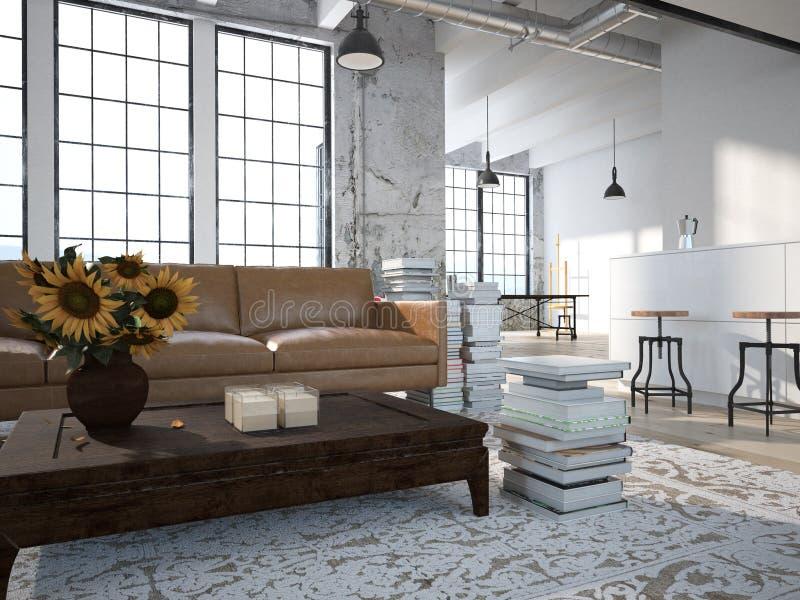 Современная просторная квартира с кухней перевод 3d стоковое фото