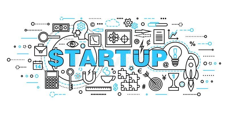 Современная плоская тонкая линия иллюстрация вектора дизайна, концепции startup развития проекта, стратегии бизнеса и нововведени бесплатная иллюстрация