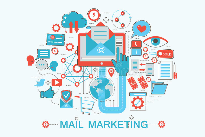 Современная плоская тонкая линия концепция маркетинга почты дизайна для вебсайта, представления, рогульки и плаката знамени сети бесплатная иллюстрация