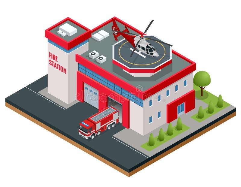 Современная равновеликая иллюстрация вектора здания пожарного депо иллюстрация вектора