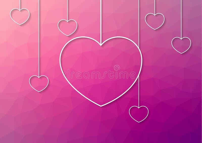 Современная розовая абстрактная предпосылка с белыми сердцами вида от иллюстрация вектора