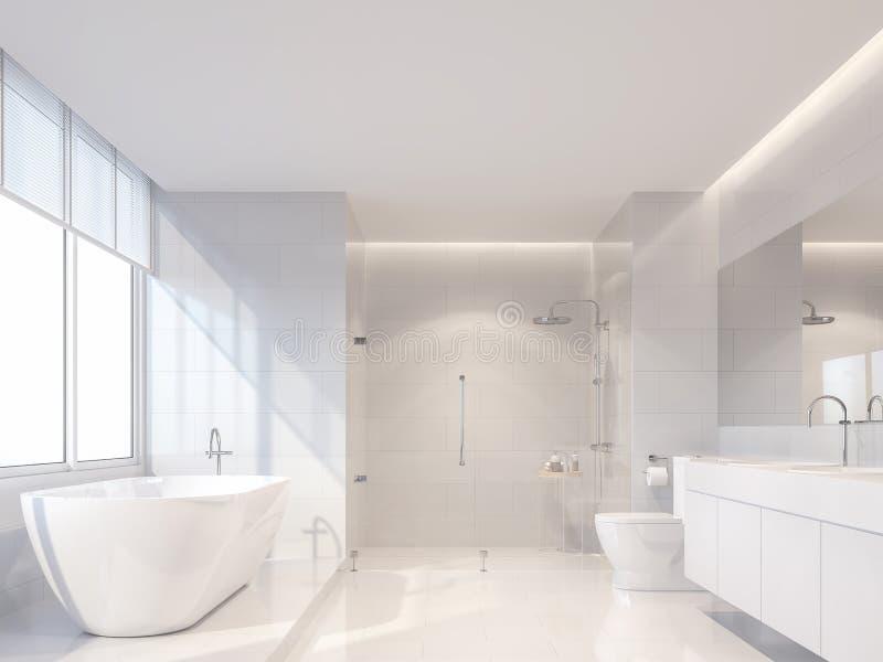 Современная роскошная белая ванная комната 3d представляет, солнце сияющая к внутренности иллюстрация штока