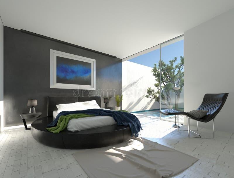 Современная роскошная спальня с черной кожей бесплатная иллюстрация