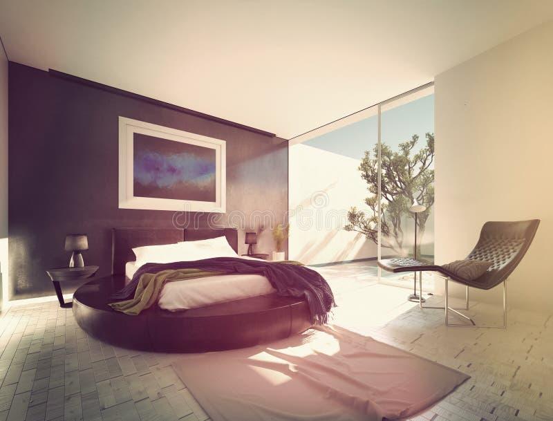 Современная роскошная спальня с черной кожей иллюстрация вектора