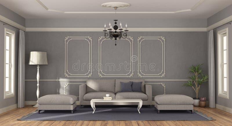 Современная серая софа в комнате в классическом стиле - переводе 3d иллюстрация вектора