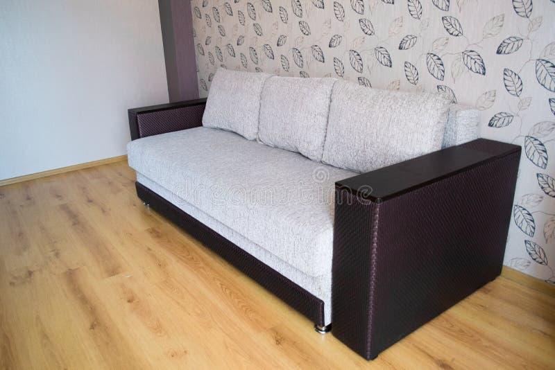 Современная софа в внутреннем взгляде комнаты стоковое изображение