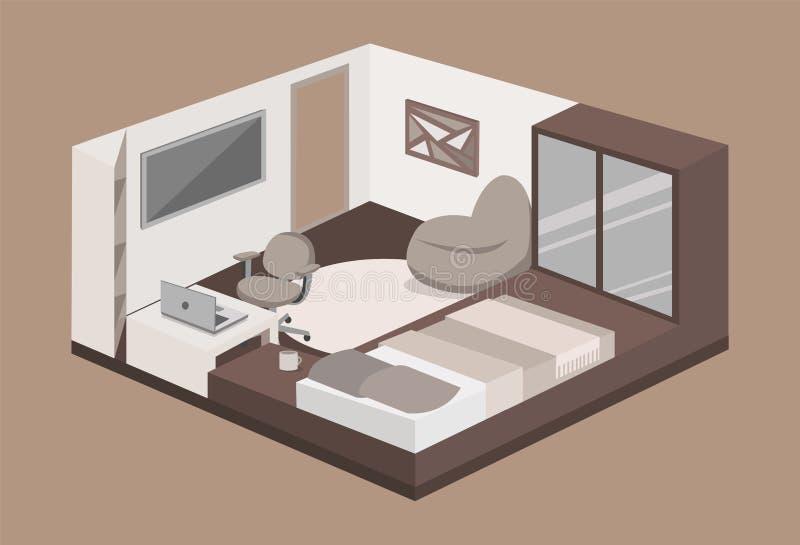 Современная спальня с подиумом иллюстрация штока
