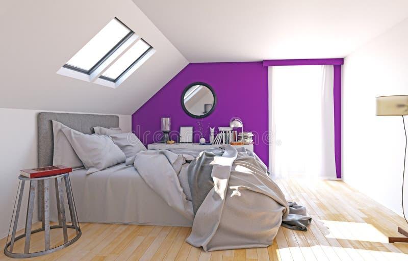 Современная спальня чердака иллюстрация вектора