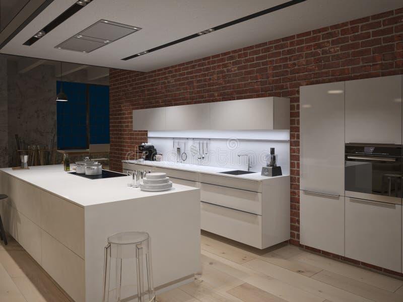 Современная стальная кухня в преобразованное промышленном бесплатная иллюстрация