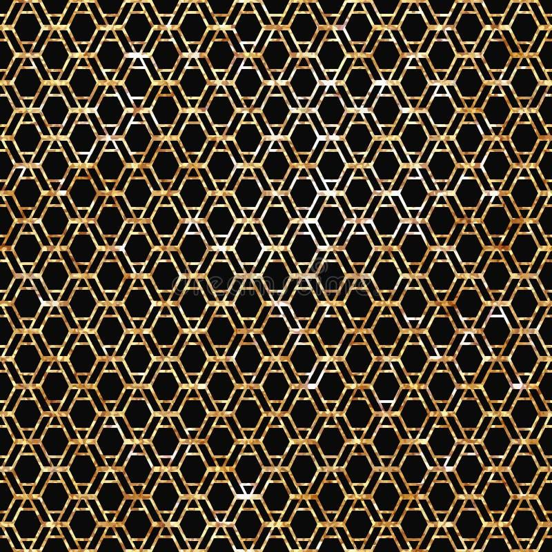 Современная стильная геометрическая картина с повторять вертикальные золотые волнистые линии иллюстрация штока