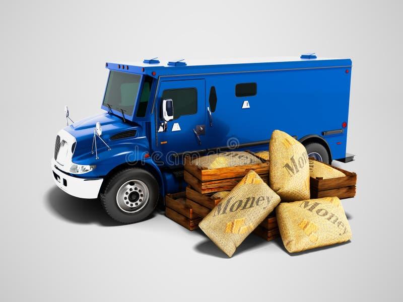 Современная темно-синая armored тележка для денег нося в сумках 3d ren иллюстрация штока