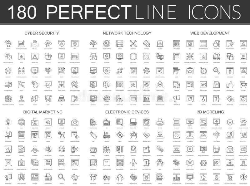 180 современная тонкая линия значки установила безопасности кибер, технологии сети, развития сети, цифрового маркетинга, электрон иллюстрация штока
