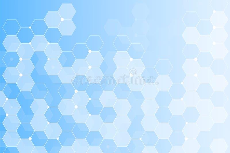 Современная футуристическая предпосылка научной шестиугольной картины Виртуальная абстрактная предпосылка с частицой, молекулой иллюстрация штока