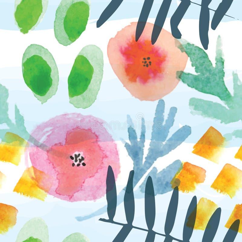 Современная флористическая безшовная картина в методе акварели иллюстрация вектора