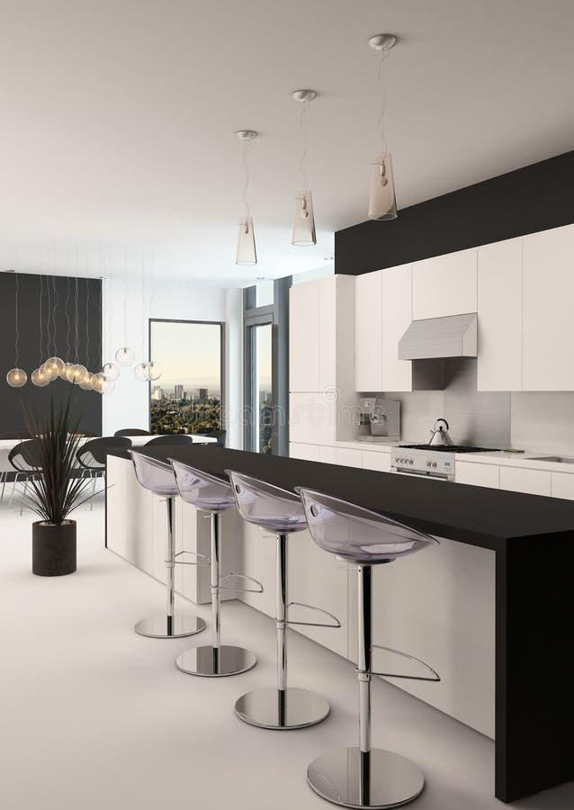 Современная черно-белая кухня и жилая площадь бесплатная иллюстрация