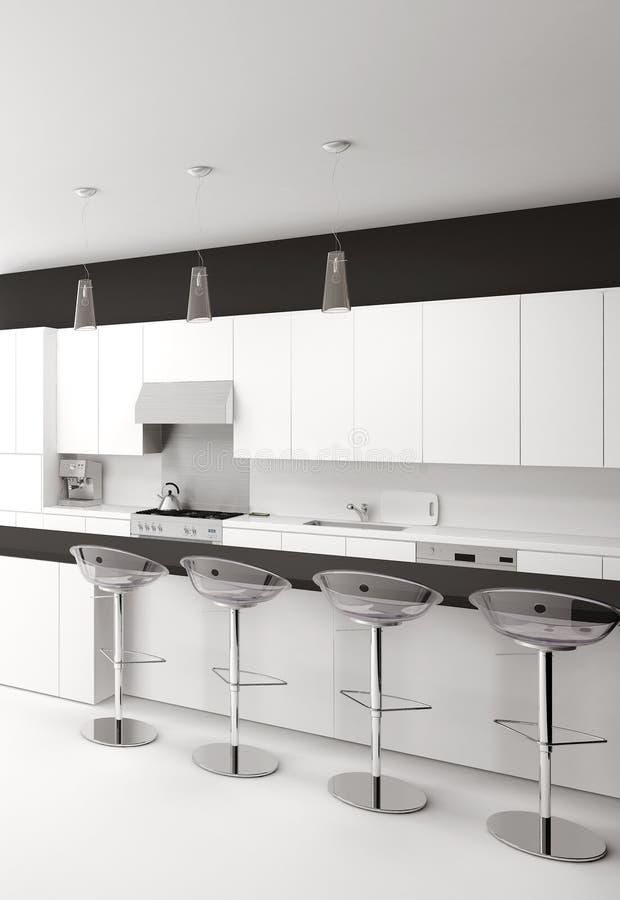 Современная черно-белая кухня с барными стулами иллюстрация штока