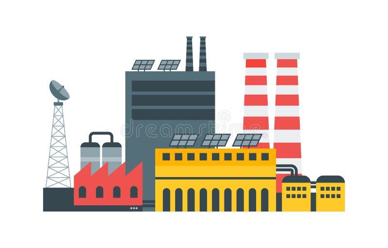 Современная экологическая фабрика с энергией панелей солнечных батарей Ландшафт города, экологическая концепция Иллюстрация векто иллюстрация штока