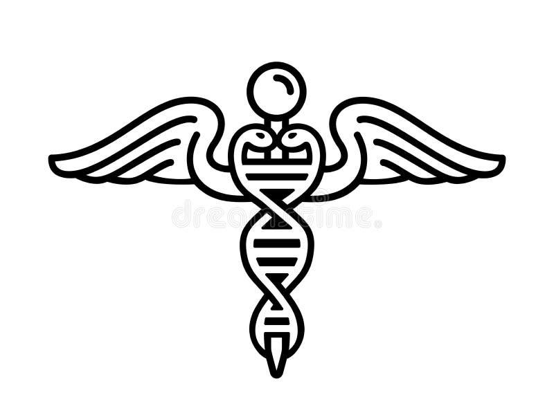 Современная эмблема генной инженерии как часть медицины с двойной спиралью нуклеиновой кислоты и значком кадуцея, змеек и крылов  иллюстрация штока