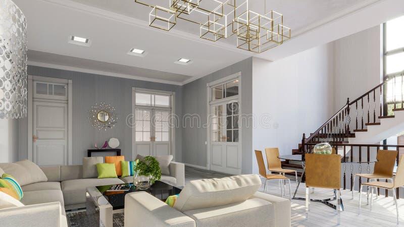 Современная яркая живущая комната в сером цвете тонизирует иллюстрацию 3d стоковое изображение