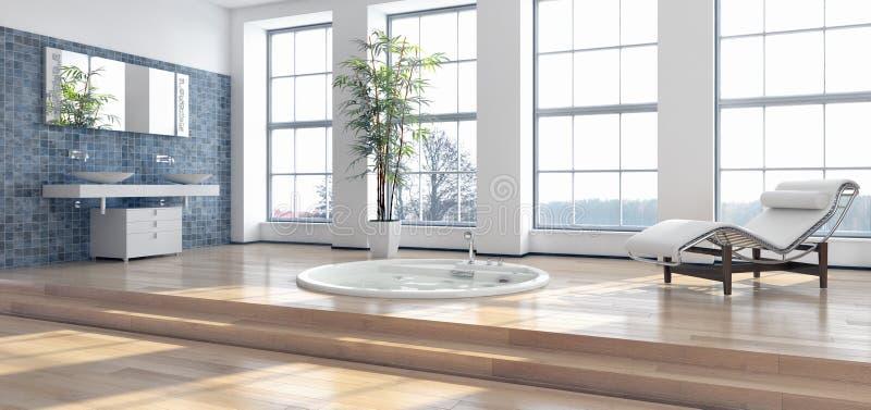 Современная яркая иллюстрация перевода интерьеров 3D комнаты кровати иллюстрация вектора