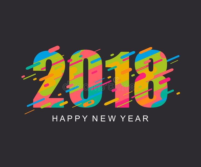 Современная яркая счастливая карточка дизайна Нового Года 2018 иллюстрация штока