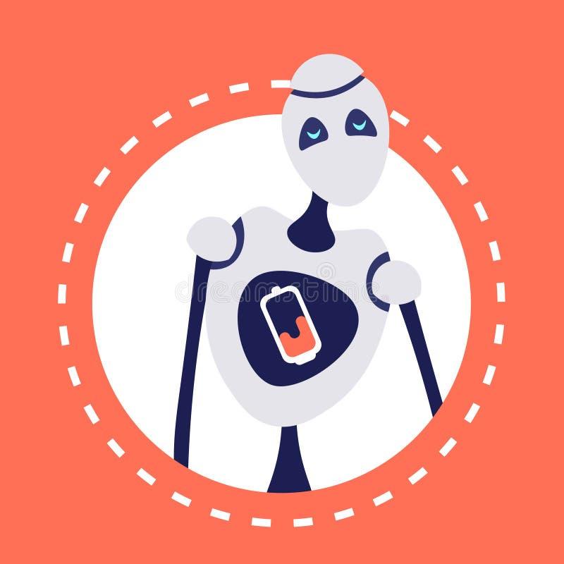 Современная discharged рамка портрета концепции искусственного интеллекта хелпера средства воплощения робота круглая плоско иллюстрация штока
