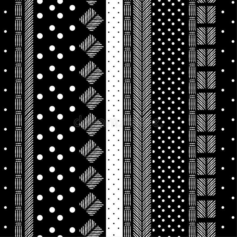 Современная monotone черно-белая картина смешала геометрическое и Хан иллюстрация вектора