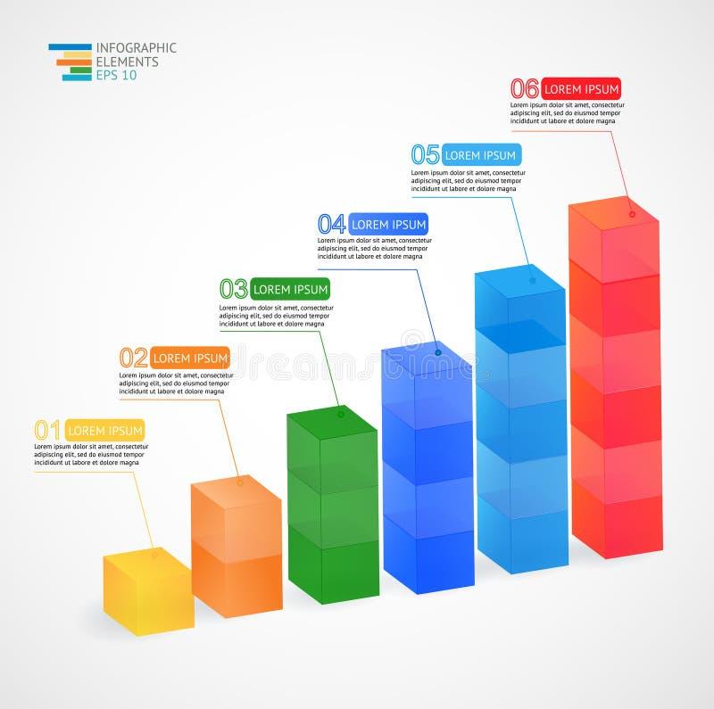 Современная multicolor диаграмма вектора 3D растущая infographic для статистик, аналитика, обзоров состояния рынка, представления иллюстрация вектора