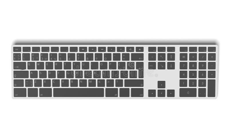 Современное алюминиевое взгляд сверху клавиатуры компьютера иллюстрация штока