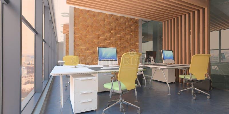 Современное вычислительное бюро внутреннее с деревянными акцентами и красивым видом иллюстрация штока