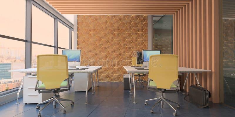 Современное вычислительное бюро внутреннее с деревянными акцентами и красивым видом бесплатная иллюстрация