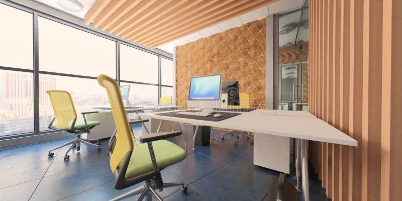 Современное вычислительное бюро внутреннее с деревянными акцентами и красивым видом стоковые изображения rf