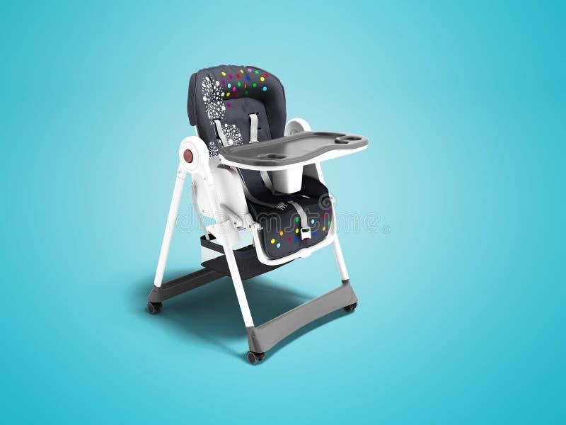 Современное голубое кресло для подавать малый ребенок с ремнями безопасности и таблица для взгляда чашки и плиты от правого 3d пр иллюстрация штока
