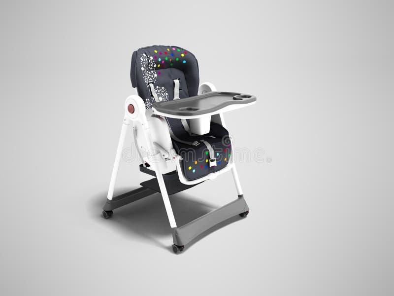 Современное голубое кресло для подавать малый ребенок с ремнями безопасности и таблица для взгляда чашки и плиты от правого 3d пр иллюстрация вектора