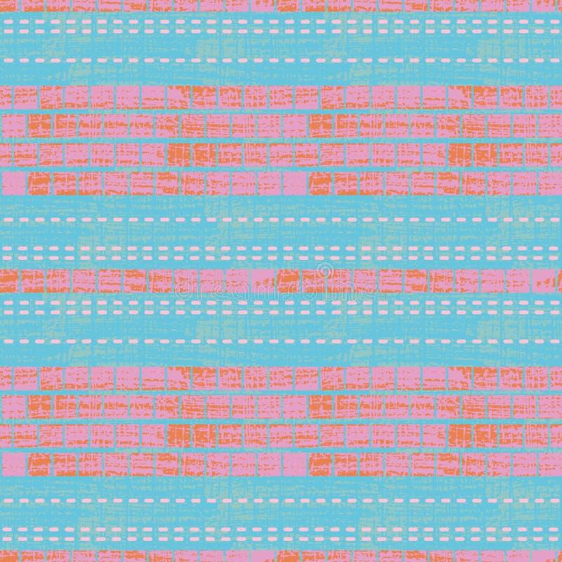 Современное голубое, пинк и оранжевый дизайн мозаики с текстурой хода щетки на тонкой покрашенной текстурированной предпосылке бесплатная иллюстрация