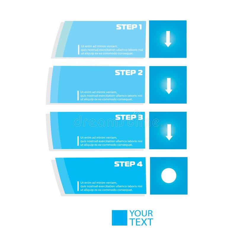 Современное голубое пронумерованное infographics знаменами бесплатная иллюстрация